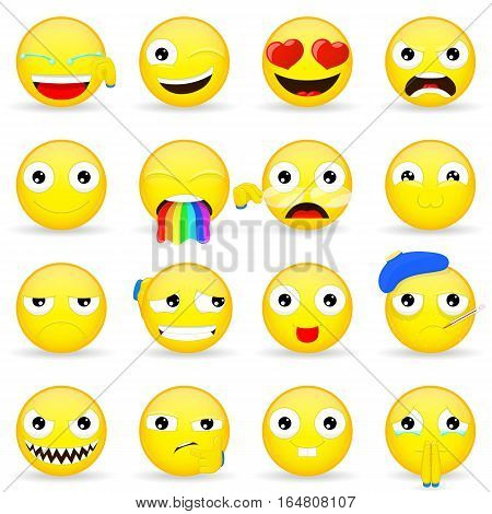 Emoji set. Emoticon set. Cartoon style. Vector illustration icon.