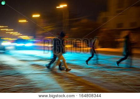 Busy City Street People On Zebra Crossing At Night