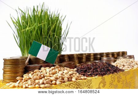 Nigeria Flag Waving With Stack Of Money Coins And Piles Of Wheat And Rice Seeds