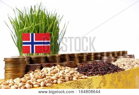 Norway Flag Waving With Stack Of Money Coins And Piles Of Wheat And Rice Seeds