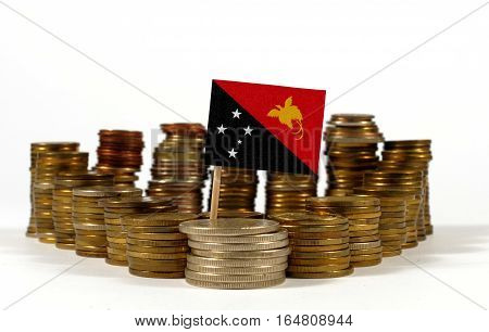 Papua New Guinea Flag Waving With Stack Of Money Coins