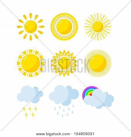Set of weather icons vector illustration. Season thermometer design thunder temperature sign. Meteorology sky or sun nature element for web application.