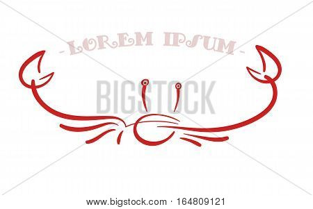 Simple minimalistic illustration with crab or lobster's silhouette in pinstriping style
