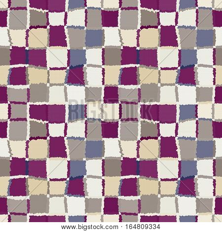 Seamless geometric mosaic checked pattern. Background of woven rectangles and squares. Patchwork, ceramic, tile texture. Gray, beige, vinous colors. Vector