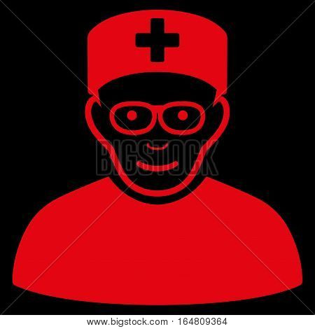Medical Specialist vector icon. Flat red symbol. Pictogram is isolated on a black background. Designed for web and software interfaces.