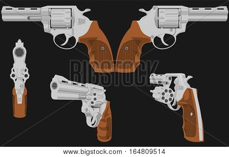 The image of a revolver in five positions The first figure is possible to animate. Illustration is composed of six layers - five revolvers and background.