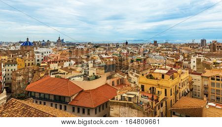 Valencia - September 2014, Valencian community, Spain: Wide angle aerial panorama of Valencia in cloudy day, view from rooftop