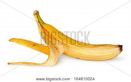 In front banana skin deployed horizontally isolated on white background