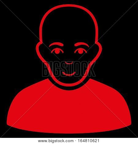 Bald Man vector icon. Flat red symbol. Pictogram is isolated on a black background. Designed for web and software interfaces.