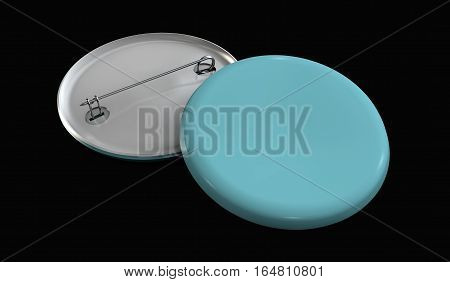 3d Illustration of Blank blue button badge stack mockup isolated black