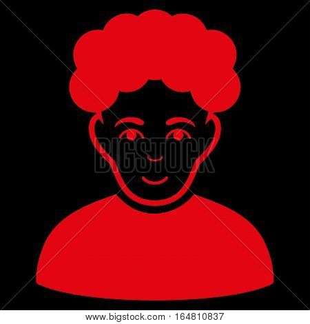 Brunet Man vector icon. Flat red symbol. Pictogram is isolated on a black background. Designed for web and software interfaces.