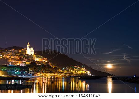 Starry Sky And Moonlight At Glowing Cervo, Ligurian Riviera, Italy