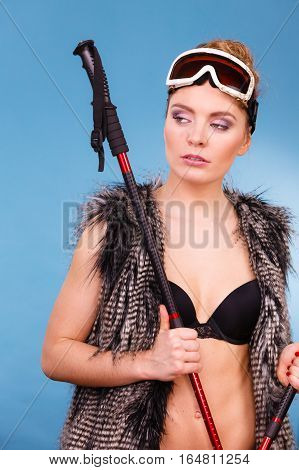 Part Body Girl With Ski Stick.