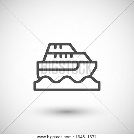 Cruise boat line icon isolated on grey. Vector illustration