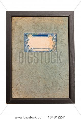 Old paper texture background with blue ornaments in wooden frame.