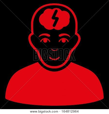Clever Boy vector icon. Flat red symbol. Pictogram is isolated on a black background. Designed for web and software interfaces.