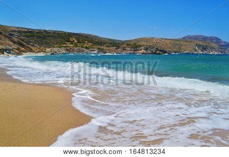 wavy Aegean sea at Korasida beach Euboea Greece