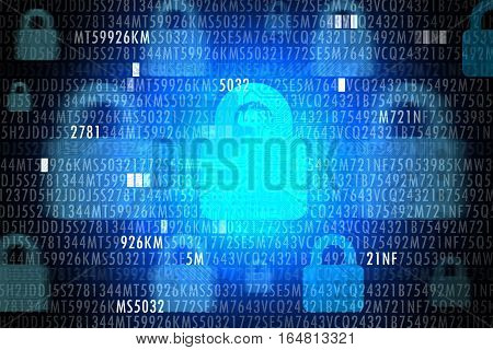 IT security concept with code and locker on blue background