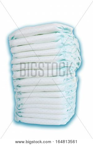 Pile or stack of diapers in baby bed hanging storage bag