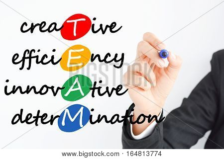 Team business concept acronym with colorful bubbles