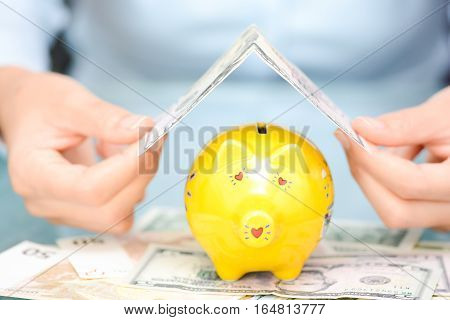 Protect your economies concept with yellow piggy bank covered by US dollar bill as rooftop