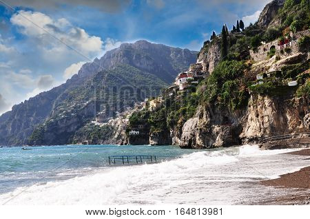 Beach shot of hills in Amalfi Coast - Italy