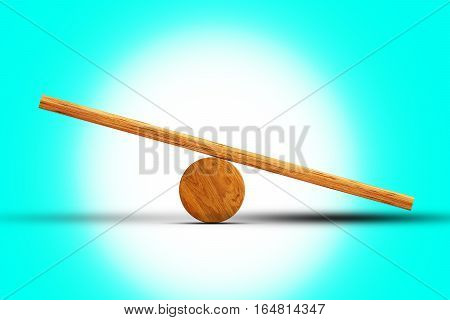 Empty Balance Seesaw on turquoise abstract background