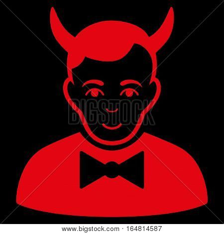 Devil vector icon. Flat red symbol. Pictogram is isolated on a black background. Designed for web and software interfaces.