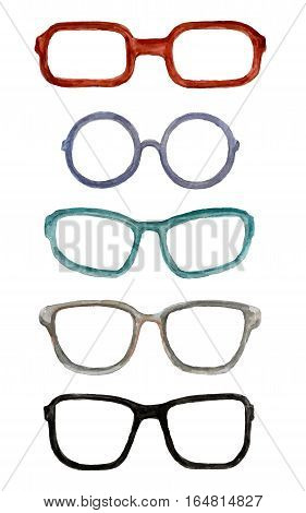 watercolor set different styles of mens glasses