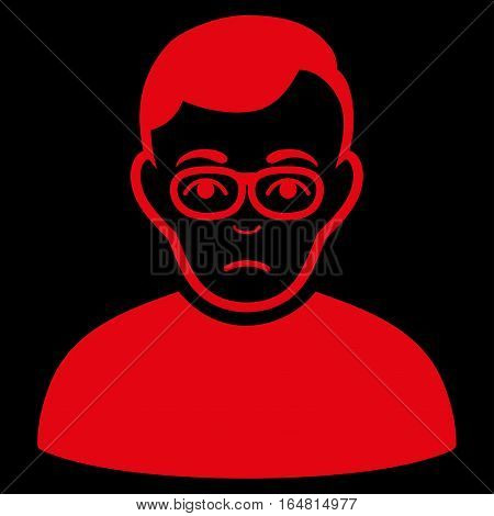 Downer vector icon. Flat red symbol. Pictogram is isolated on a black background. Designed for web and software interfaces.