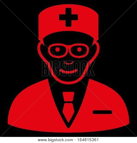 Head Physician vector icon. Flat red symbol. Pictogram is isolated on a black background. Designed for web and software interfaces.