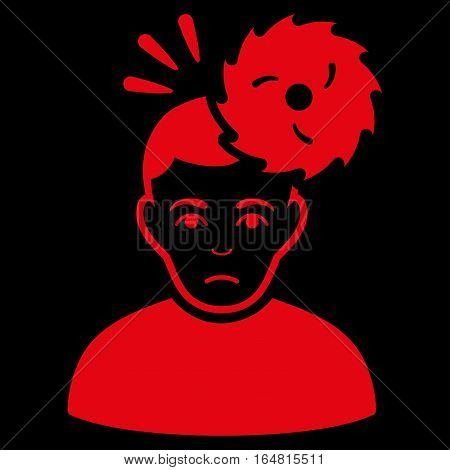 Headache vector icon. Flat red symbol. Pictogram is isolated on a black background. Designed for web and software interfaces.