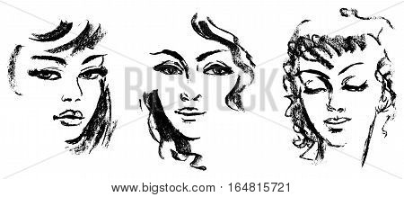 Female silhouette. Portrait of beautiful girl. Hand-drawn. Drawing in pencil. Vector illustration