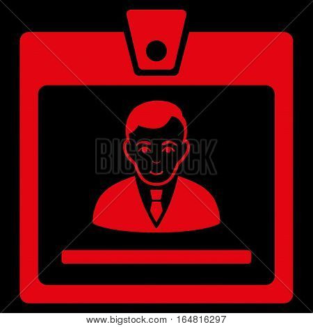 Manager Badge vector icon. Flat red symbol. Pictogram is isolated on a black background. Designed for web and software interfaces.