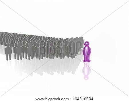 Violet and grey mans on white reflective background 3D illustration.