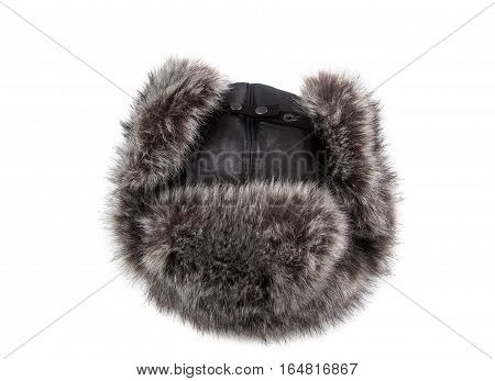 winter hat earflaps of leather and fur