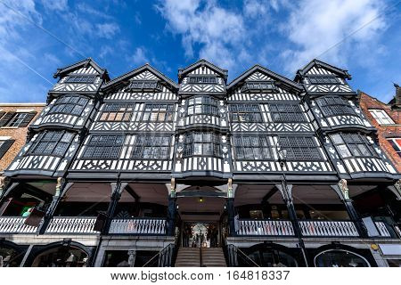 The Tudor style architecture in Chester Cheshire England.