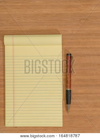 Bamboo Desk Yellow Pad Ballpoint Pen Copy Space