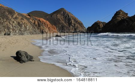 Looking south along the shore at Pfeiffer Beach, Big Sur, California.