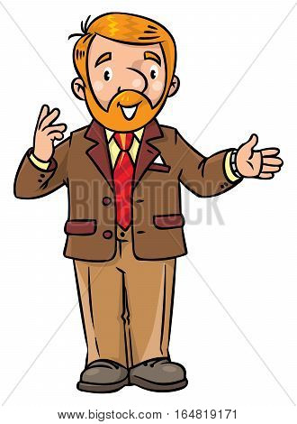 Childrens vector illustration of funny university lecturer or teacher. A man with a beard is giving a lecture or lesson or tells something. Profession series.