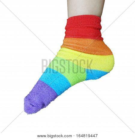 wearing Rainbow sock on feet isolated on white.
