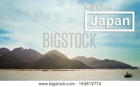 Miyajima Island landscape view Japan travel poster.