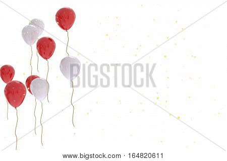 3D Rendering Of White And Red White Balloons