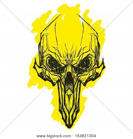 Alien skull or grim reaper deaths head illustration for tatoo or print on t-shorts
