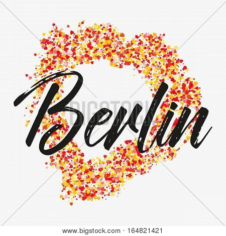 Print with lettering about Berlin and red yellow glitter in shape of heart on grey background. Pattern for fabric textiles clothing shirts t-shirts. Vector illustration