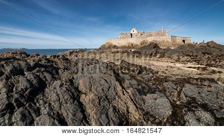 Rocks and fort national building in Saint-Malo, Bretagne France