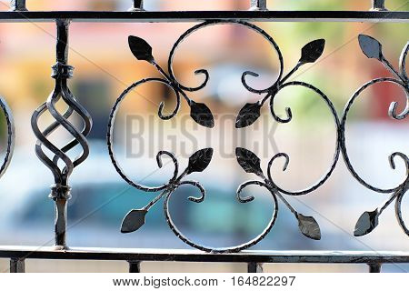 Decorative iron bars at the windows. A view through the bars