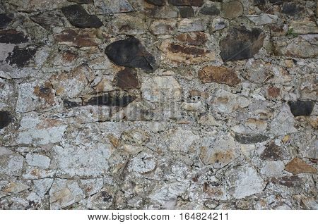 Old chalky stone wall texture scattered design, house building, light stone with reddish