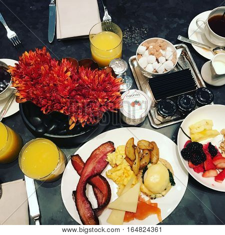 New York, USA - November, 2017. Breakfast at the luxurious Grand Hyatt hotel in New York City.