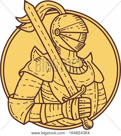 Mono line style illustration of a knight wearing armor and helmet holding sword on shoulder viewed from the side set inside circle on isolated background.